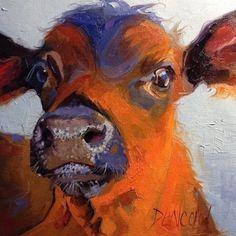 Milk Face - colorful calf portrait by Debbie Grayson Lincoln, painting by artist Debbie Grayson Lincoln Cow Paintings On Canvas, Animal Paintings, Animal Drawings, Original Paintings, Original Art, Art Paintings, Art Painting Gallery, Art Gallery, Cow Face