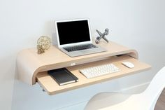 Minimal Float Wall Desk mounts easily to any wall type to create a multi-use desk or display shelf. Perfect laptop station, full desktop station or writing desk