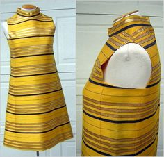 Morton Myles Jeunesse Dress MOD Space Age Stripes of Gold Metallic & Navy against Canary Yellow Small Size 8