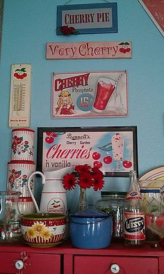 vintage cherry display- so cute and it uses red and aqua my favorite!