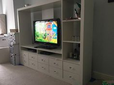 lappland tv storage unit white - Google Search More Living Room Themes, Living Room Goals, Living Room Tv, Small Living Rooms, Living Room Inspiration, Home Decor Inspiration, Ikea Lappland, Tv Stand Unit, Tv Unit