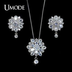 White Gold Plated Top Grade CZ Flower Shaped Stud Earrings and Pendant Necklace For Women Jewelry Sets AUS0016