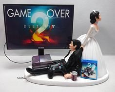 Wedding Cake Topper  Funny DEST2 Game Over Xbox One/PS4 Custom by TopShelfToppers on Etsy