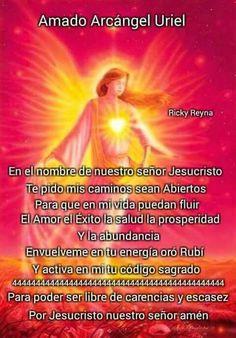 At Home Workout Plan, At Home Workouts, Archangel Uriel Prayer, Spanish Prayers, Healing Codes, Angel Prayers, Angel Decor, Angel Pictures, Prayer Quotes