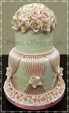 EDITOR'S CHOICE (01/18/2014) Gold and pink flourish by Sveta's Sweet Cakes View details here: http://cakesdecor.com/cakes/107870-wedding-rose-cake