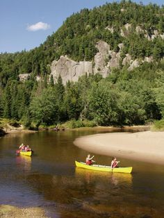 Canoeing down a river in Mont Tremblant, QC Kayaks, Parc National, National Parks, Ski Weekends, Camping Equipment Rental, Excursion, Camping Spots, Canoe And Kayak, Quebec City