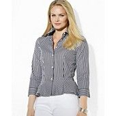 Lauren Ralph Lauren Plus Stripe Peplum Blouse