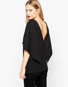 Image 2 ofASOS Crepe Open Back Top With Ruffle Detail