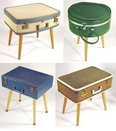 Vintage cases turned side table storage.- Must have a flat top!  (so many of the vintage suitcases are rounded)