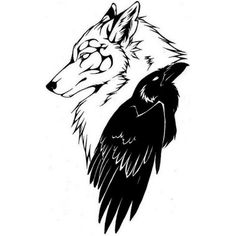 Tatuaggio lupo corvo