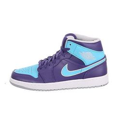 Nike Air Jordan 1 Mid Mens 554724-507 Purple Gamma Blue Basketball Shoes Size 13