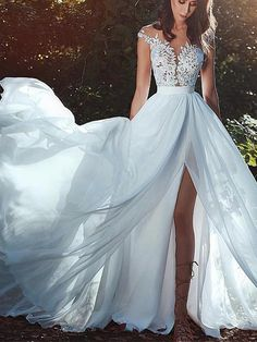 Best A-line Wedding Dresses : NEW! Graceful Tulle & Chiffon Jewel Neckline A-line Wedding Dress With Lace Appl., Wedding Dresses : Picture Description NEW! Graceful Tulle & Chiffon Jewel Neckline A-line Wedding Dress With Lace Appliques & Slit. Beach Bridal Dresses, Best Wedding Dresses, Perfect Wedding Dress, Wedding Gowns, Prom Dresses, Tulle Wedding, Trendy Wedding, Elegant Wedding, Beach Formal Dresses