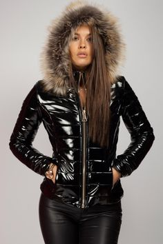 Faux Fur Hooded Jacket, Puffy Jacket, Hooded Cloak, Coats For Women, Jackets For Women, Black Puffer, Wet Look, Fashion Outfits, Fashion Tips