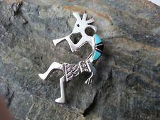 Anhänger Brosche Kokopelli Indianerschmuck Sterling Silber 925 Inlay Türkis