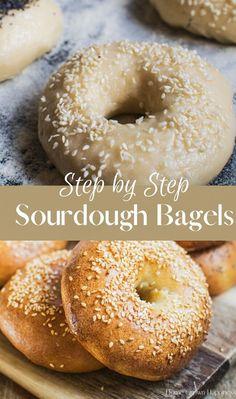 Sourdough Bagels, Sourdough Recipes, Bread Recipes, New York Bagel, Bagel Recipe, Fresh Bread, Granola Bars, Bread Rolls, Breads