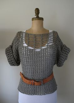Use this concept... Two large rectangles for the base and two smaller rectangles for the sleeves, could make really loose and shape with a belt  Category - Beautiful: Summer Sweater... Crochet DIY