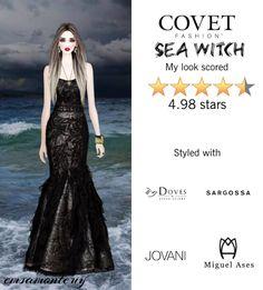 Sea Witch @covetfashion  #covet #covetfashion #fashion #covetsummer2015 #seawitch #witch #jovani #ashleypittman #black #lionettebynoasade #miguelases #dovesbydoronpalomal