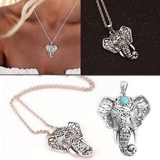 Bohemian Vintage Silver Turquoise Elephant Pendant Chain Choker Necklace Jewelry