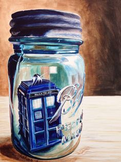"""""""Landed in the Wrong Place!"""" TARDIS in a ball jar, the second in my Captured! Series... Original watercolor on Ampersand Aquabord, 9 x 12"""". By Jennifer Redstreake Geary"""