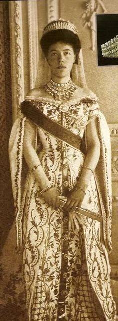 Grand Duchess Olga Alexandrovna in Russian Court dress.
