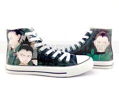 NEW Shikamaru Nara/Shikaku Naruto Anime Shoes High Top Hand Painted Canvas Sneakers Shikamaru sneakers! how awesome! Painted Sneakers, Hand Painted Shoes, Canvas Sneakers, Custom Converse, Custom Shoes, Converse Shoes, Naruto Shoes, My Hero Academia Merchandise, Cute Sneakers