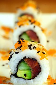 Tuna Avocado Maki.  Spiciness is preferable.