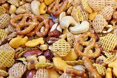 Anglers Mix, Cereal, Goldfish, Pretzels, Corn nuts, mixed nuts, party/snack mix  #Chex