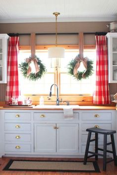 The House » Talk of the House love this kitchen with beadboard ceilings and red buffalo check curtains