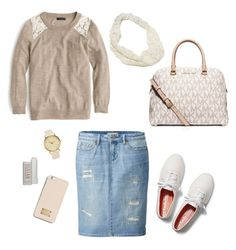 """""""Tan and Cream"""" by mikaylaxxrayann ❤ liked on Polyvore featuring MICHAEL Michael Kors, Uniqlo, J.Crew, Keds, Fresh, NLY Accessories, American Eagle Outfitters, casual, cream and Tan"""