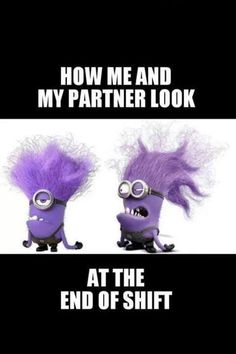 In Despicable Me 2 we were introduced to new minions, the evil purple minions. Based on the popularity of the yellow minions, these new crazy screaming purple minions are going to be very popular Halloween costumes this year. Evil Minion Costume, Minion Costumes, Night Shift Humor, Night Shift Nurse, Night Shift Quotes, Medical Humor, Nurse Humor, Pharmacy Humor, Police Humor