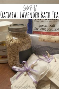 Oatmeal Lavender Bath Tea! This is the perfect way to relax after a long day. It moisturizes your skin, relaxes your muscles, and relieves stress!