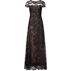 Rental Marchesa Notte Nightingale Gown ($175) ❤ liked on Polyvore featuring dresses, gowns, long dress, longos, black, long lace evening dress, full skirt, short sleeve dress, lace gown and lace ball gown