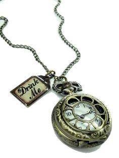 Alice im Wunderland trinken mir Pocket Watch Halskette D