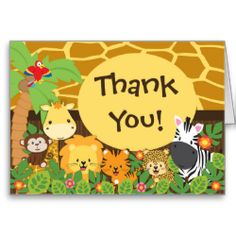 Our baby jungle safari animals thank you note card is the perfect finishing touch to your jungle themed baby shower. Our cute thank you not card features a giraffe print background with a palm tree, parrot, giraffe, monkey lion, tiger & zebra set on a jungle leaf with flowers background. The coordination back of this thank you card features jungle leaves with the sweetest little monkey! Visit our shop to view this design in different variations and for matching invitations, postage stamps…