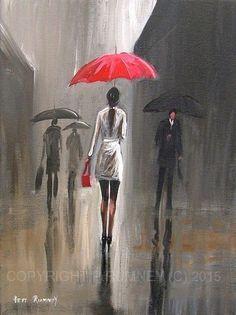 PETE RUMNEY FINE ART MODERN ACRYLIC OIL ORIGINAL PAINTING RED UMBRELLA RAIN DROP in Art, Artists (Self-Representing), Paintings | eBay
