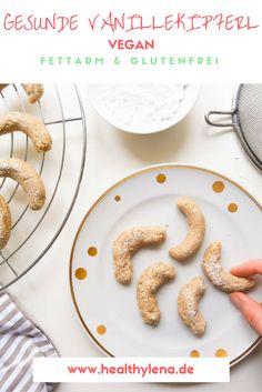 Gesunde und vegane Vanillekipferl! Fettarm und auf Wunsch glutenfrei. Die Weihnachtsbäckerei ist in vollem Gange!