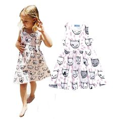 Baby Girls Cartoon Cat Printed Princess Dress Christmas Outfits 1-6T Kid Clothes
