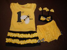 BEE-day outfit (bloomers, headband, dress) Bumble Bee Themed Birthday Party Set. $55.00, via Etsy.