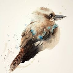 I really enjoyed keeping the style loose in this watercolour painting of a little kookaburra that was perched outside my balcony one morning. By RamonaFrederickson on Etsy Bird Painting Acrylic, China Painting, Watercolor Animals, Abstract Watercolor, Watercolor Paintings, Watercolors, Bird Wall Art, Australian Art, Bird Drawings