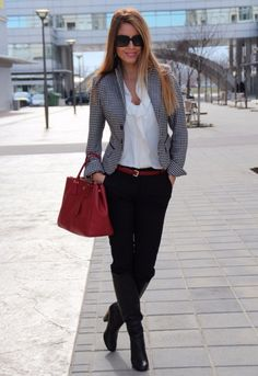 cute grey blazer and high heels style