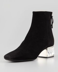 Miu Miu Baguette Heel Suede Ankle Boot, Black on shopstyle.com