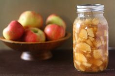Homemade Apple Pie Filling.  Made with fresh apples and stored for later use, like the canned version without all the nasty preservatives!