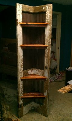 Corner shelf made from old door and all reclaimed materials