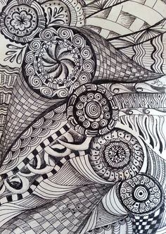 """Zentangle Inspired """"Rolling Circles""""  pen & ink and pencil drawing"""