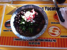 Frijol con Puerco, platillo típico de Yucatán, El rincón de Manzanero, San Andrés Cholula Puebla.