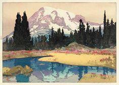Mount Rainier  by Hiroshi Yoshida, 1925  www.hanga.com