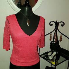 V-neck Top Great spring/summer top  Quarter sleeve (melon color) Tops Blouses