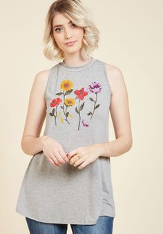 Coming and Growing Tank Top. Both friends who are just arriving at your casual bash and those who are on their way out will take a moment to admire your heather grey trapeze top! #grey #modcloth
