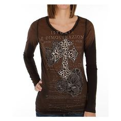 Velvet Stone Diamond Cheetah T-Shirt ($42) ❤ liked on Polyvore featuring tops, t-shirts, brown, velvet stone t shirts, brown t shirt, graphic v neck t shirts, graphic design t shirts and print t shirts