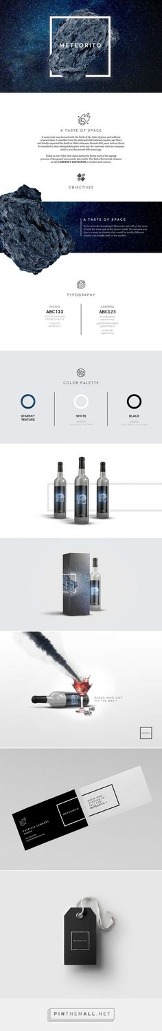 Meteorito: Wine from Space by Sylvain Drolet packaging branding on Behance curated by Packaging Diva PD. Fictive re-brand made for Meteorito wine.